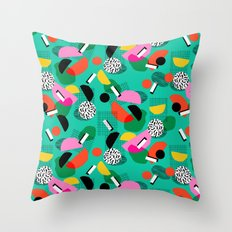 Flange - memphis inspired pop art retro throwback 1980s neon style art print decor hipster socal Throw Pillow