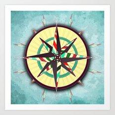 Striped Compass Rose Art Print