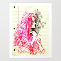 notebook Art Prints featuring notebook casto  by Jordan Piantedosi