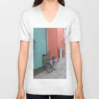 street V-neck T-shirts featuring Street by Infra_milk