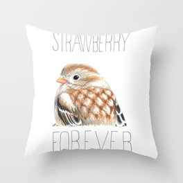 Strawberry Fields Forever (Field Sparrow) Throw Pillow