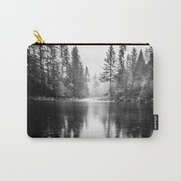 Forest Reflection Lake - Black and White  - Nature Photography Carry-All Pouch