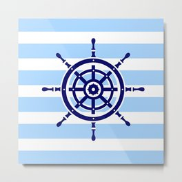AFE Nautical Helm Wheel Metal Print