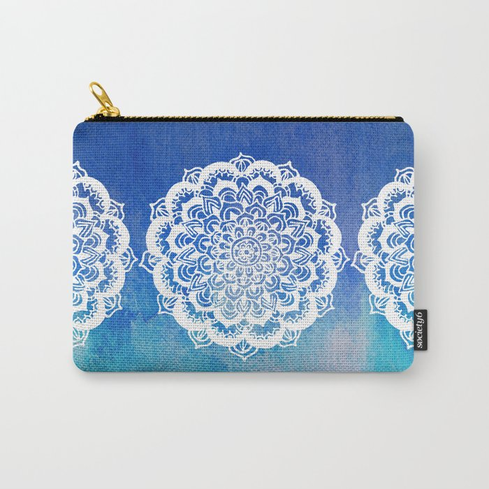 White Floral Medallion on Indigo & Turquoise Watercolor Carry-All Pouch