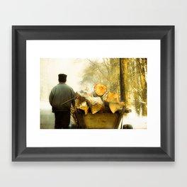Farmer and Wood Cart in Moldova, Romania Framed Art Print