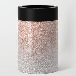 Modern trendy rose gold glitter ombre silver glitter Can Cooler