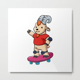 Goat With Skateboard. Metal Print