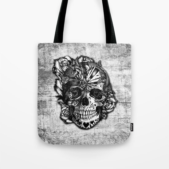 Sugar and Spice grunge candy skull. Tote Bag