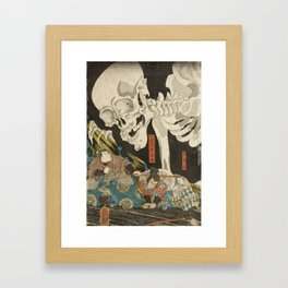 Utagawa Kuniyoshi  - Mitsukuni And The Skeleton Framed Art Print
