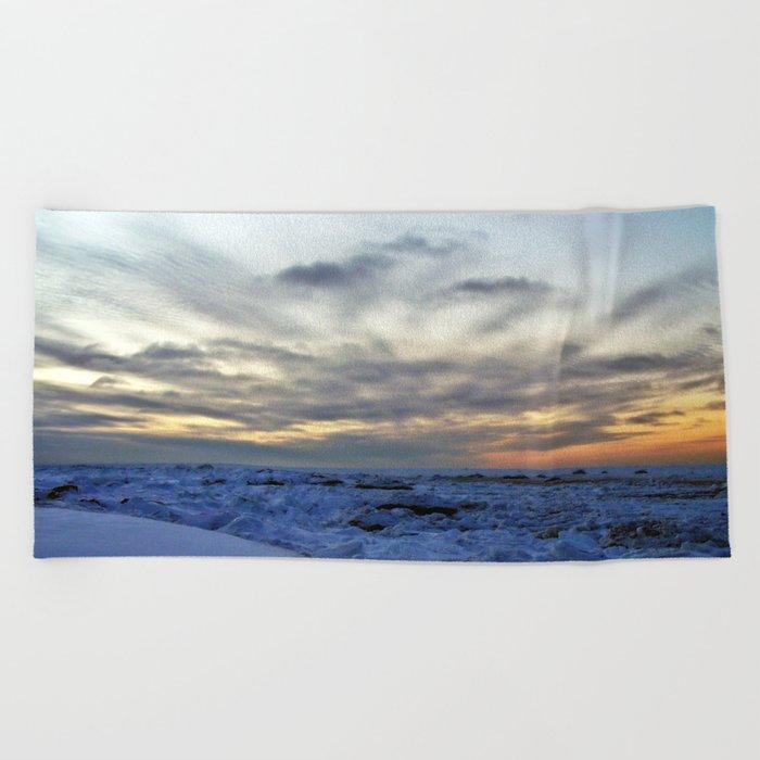 Icy Sea at Sunset Beach Towel