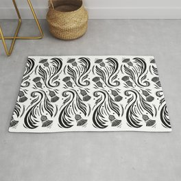 Thistles - Black and White Pattern Rug