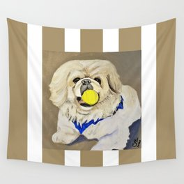 Peke Augie with ball Wall Tapestry