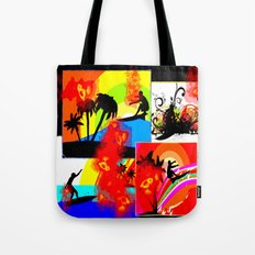 Posterized Surfing Collage Tote Bag