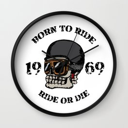 Vintage motorcycle t-shirt graphics. Born to ride. Ride or die. Biker t-shirt. Motorcycle emblem. Mo Wall Clock