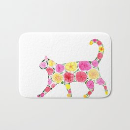Cat Silhouette with flowers Bath Mat
