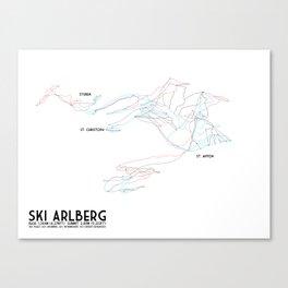 Ski Arlberg - St. Christoph and St. Anton - Labeled - Tirol, Austria - Minimalist Winter Trail Art Canvas Print