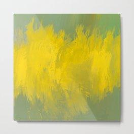 Jubilant 12 - Abstract Modern - Sunshine Yellow Gold Sage Green Metal Print