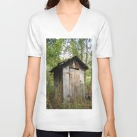 outdoor V-neck T-shirts featuring Outdoor toilet by jim snyders photography