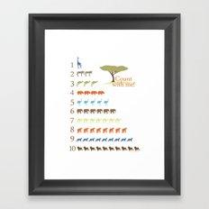 Counting Safari Animals - Safari colorway Framed Art Print