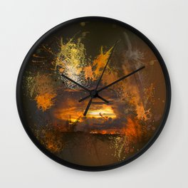 Exploding vibrant sunset Wall Clock