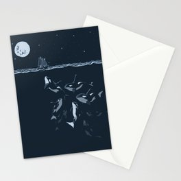 Pod of Killer Whale (Orca) and small boat in midnight ocean scene Stationery Cards