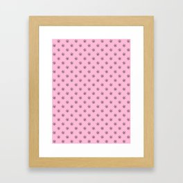 Black on Cotton Candy Pink Snowflakes Framed Art Print