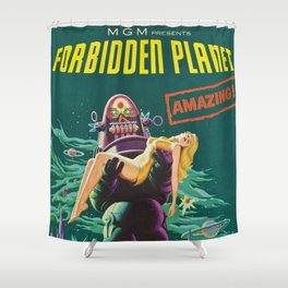 Vintage Forbidden Planet featuring Robby the Robot Theatrical film advertisement poster  Shower Curtain