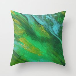 Square Green Abstract Acrylic Painting Throw Pillow