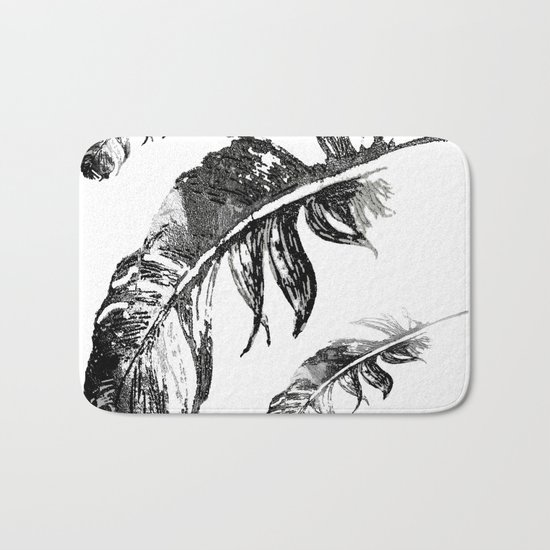 FEATHERS IN BLACK WHITE AND GRAY Bath Mat