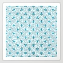 Teal Blue Snowflake Pattern Art Print