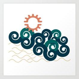sun in a beach Art Print