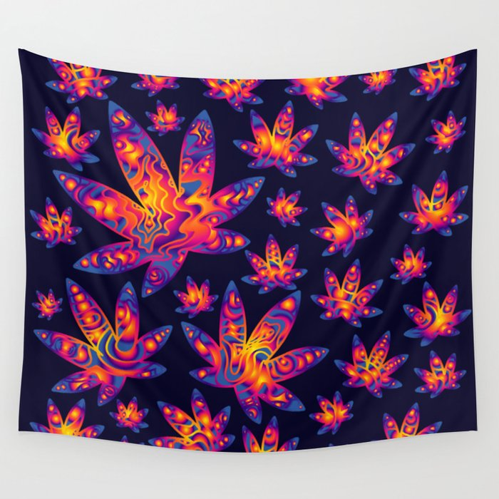 Psychedelic Cannabis Swirl Wall Tapestry