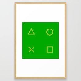 Green Gamer Pattern Framed Art Print