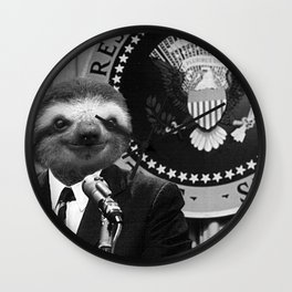 Sloth as President of America Wall Clock