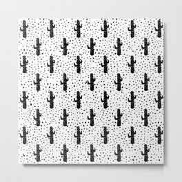 Black and White Modern Cactus and Triangle Geometric Metal Print
