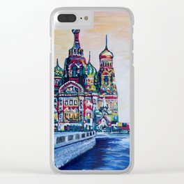 st petersburg  with church of the savior on blood Clear iPhone Case