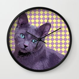 Checkerboard Cat Wall Clock