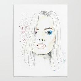 Margot Robbie Harley Quinn watercolor Poster