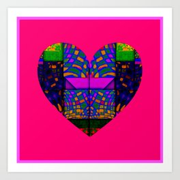 PINK AND GREEN HEART Art Print