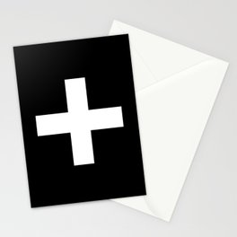Plus Sign (White & Black) Stationery Cards