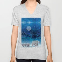 Arctic Journey of Polar Bears Unisex V-Neck
