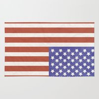 american flag Area & Throw Rugs featuring American Flag by Katie Zimpel