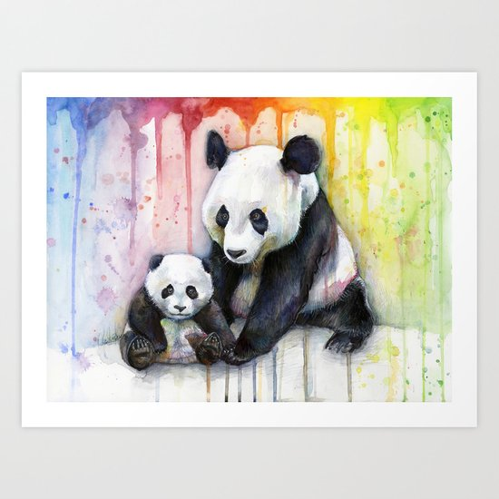 Pandas and Rainbow Watercolor Mom and Baby Panda Nursery Animals Art Print