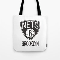 nba Tote Bags featuring Brushed NBA Team Logos - Nets by Katadd