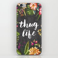 silver iPhone & iPod Skins featuring Thug Life by Text Guy