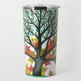 Nebraska Whimsical Cats in Tree Travel Mug