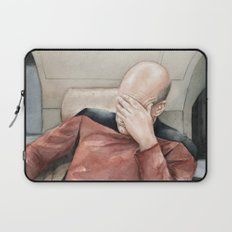 Picard Facepalm Meme Funny Geek Sci-fi Captain Picard TNG Laptop Sleeve
