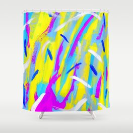 Spice It Up - yellow pink blue abstract painting brushstrokes modern pattern Shower Curtain