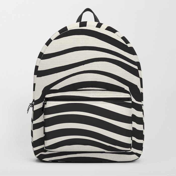 Wavy lines black and white Backpack