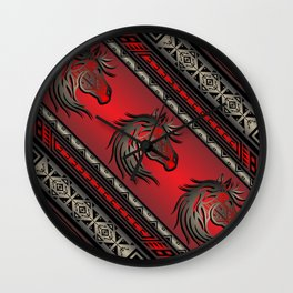 Horse Nation (Red) Wall Clock